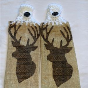 Lot of 2 🦌 Crocheted Hanging Cotton Kitchen Towel